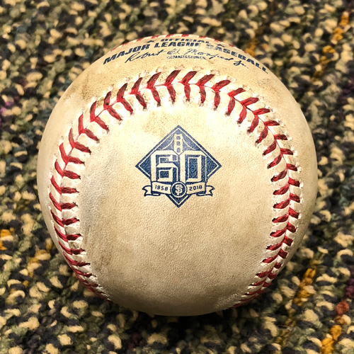 Photo of 2018 San Francisco Giants - 2018 Game Used Baseball - Maeda Strikes out Gorkys Hernandez - 4/29/2018 vs. Los Angeles Dodgers - (Also Blach - Pitch in the Dirt)