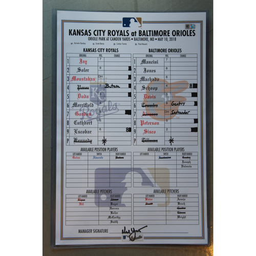 Game-Used Line-Up Card: Salvador Perez Grand Slam (KC at BAL - 5/10/18)