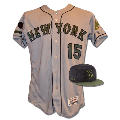Photo of Luis Guillorme #15 - Game Used Road Grey Memorial Day Jersey and Hat - Guillorme goes 2 for 4 with 1 RBI- Mets vs. Braves - 5/28/18