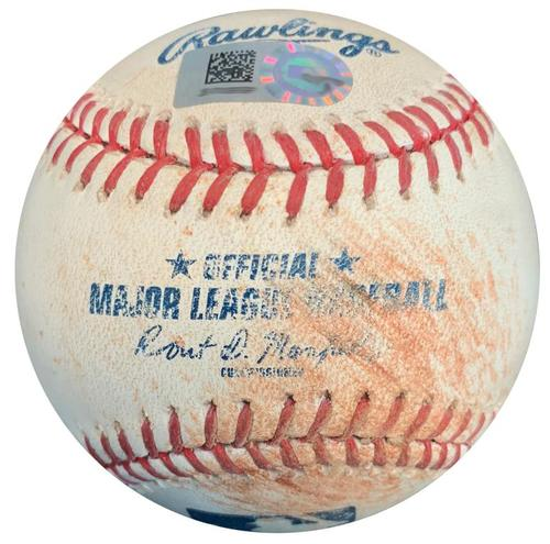 Photo of Game-Used Baseball from Pirates vs. Cubs on 9/15/15 - Andrew McCutchen RBI Single