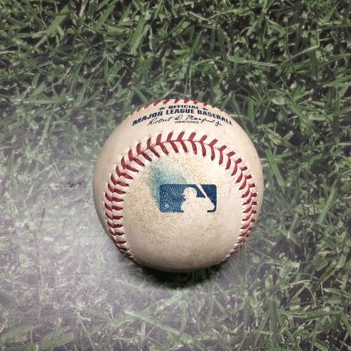 Photo of Game-Used Baseball LAD@MIL 04/21/19 - Clayton Kershaw - Hernan Perez: Foul