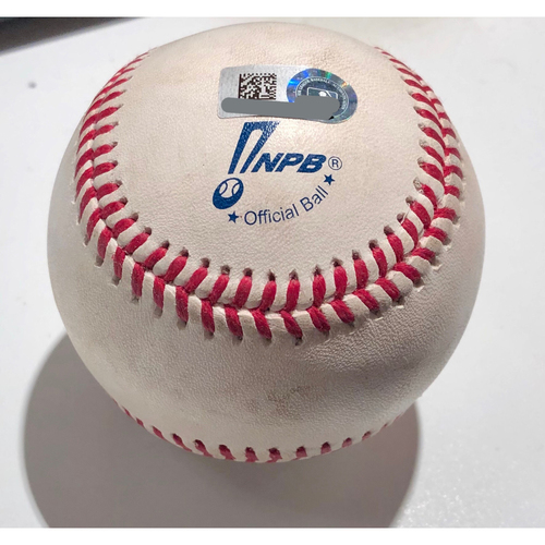 2019 Japan Opening Day Series - Exhibition Game - Game Used Baseball - Batter: Khris Davis Pitcher : Kohei Arihara - RBI Double