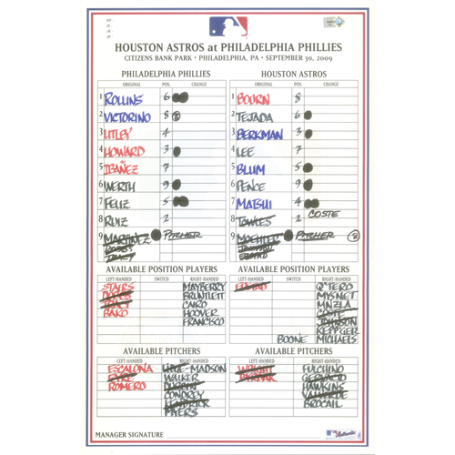 Photo of 2009 Official Lineup Card - NL East clinch