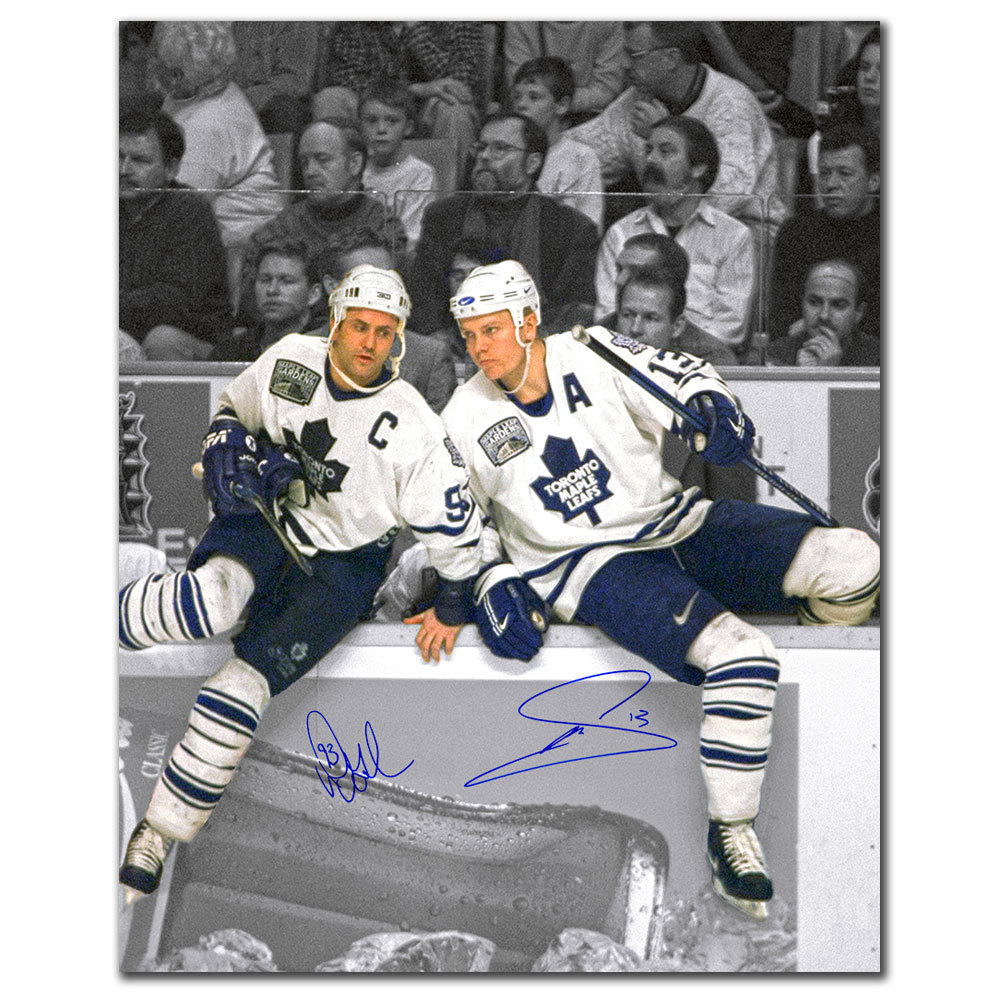 Doug Gilmour & Mats Sundin Toronto Maple Leafs OVER THE BOARDS Dual Autographed 16x20