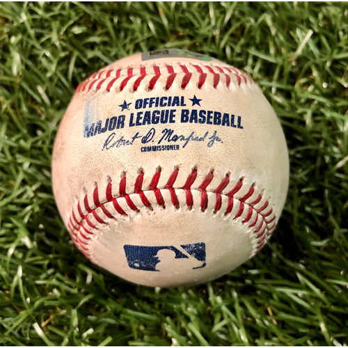 Photo of Game Used Baseball: Miguel Cabrera strikeout and Niko Goodrum foul ball off Charlie Morton - August 16, 2019 v DET