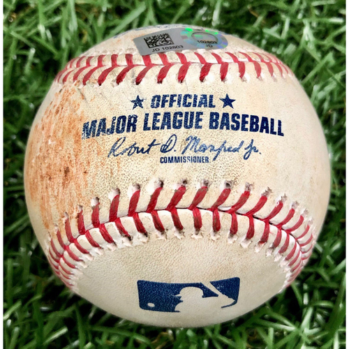 Photo of Game Used Baseball: Austin Meadows RBI ground-rule double off Ryan Weber - September 10, 2020 v BOS
