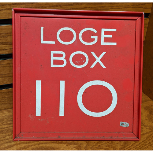 Photo of Fenway Park Loge Box 110 Metal Section Sign