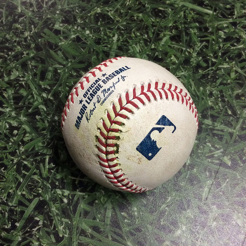Photo of Game-Used Baseball ATL@MIL 07/17/19 - Dallas Keuchel - Keston Hiura: RBI Double