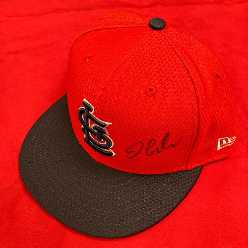 Photo of Dylan Carlson Autographed Team Issued Batting Practice Cap (Size 7 5/8)