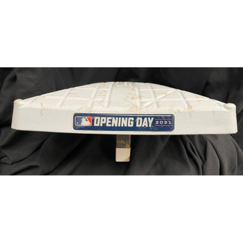 Photo of 2021 Opening Day Game-Used Base -- **Used for Jonathan India First Career Hit (Double)** -- Second Base Used During Fourth Inning -- Cardinals vs. Reds on 4/1/21