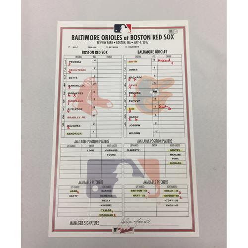 Orioles vs Red Sox May 4, 2017 Game-Used Lineup Card - Orioles Win 8 to 3