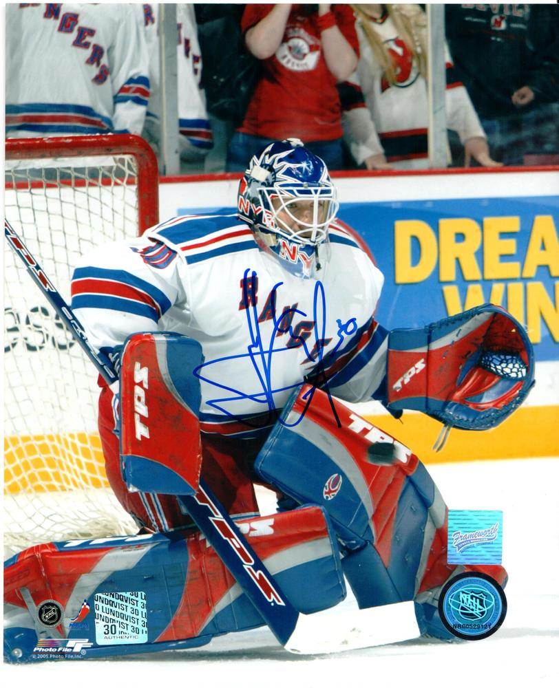 Henrik Lundqvist - Signed 8x10 Unframed New York Rangers White Action
