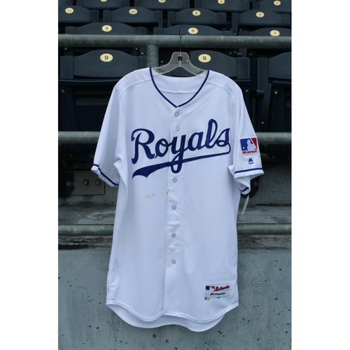 Photo of Game-Used 1969 Throwback Jersey: Alcides Escobar 1,292nd Career Hit (Size 44 - NYY @ KC - 5/19/18)