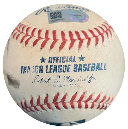 Photo of Game-Used Baseball from Pirates vs. Reds on 10/4/15 - Josh Harrison RBI Double