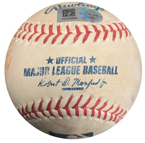 Photo of Game-Used Baseball from Pirates vs. Brewers on 4/16/16 - Josh Harrison RBI Triple