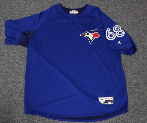 Photo of Authenticated Team Issued Batting Practice Jersey - #68 Rowdy Tellez. Size XL. Part of Sleeves cut off.
