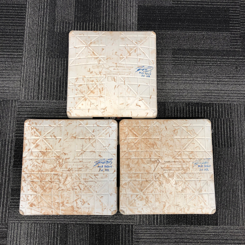 "Photo of 2017 Autographed Game Used Bases - 6/28/17 vs. Colorado Rockies - 1st, 2nd & 3rd Base from Innings 4 -6 - Jae-Gyun Hwangs MLB Debut & 1st Major League Home - Inscribed ""MLB Debut & 1st Home Run"""