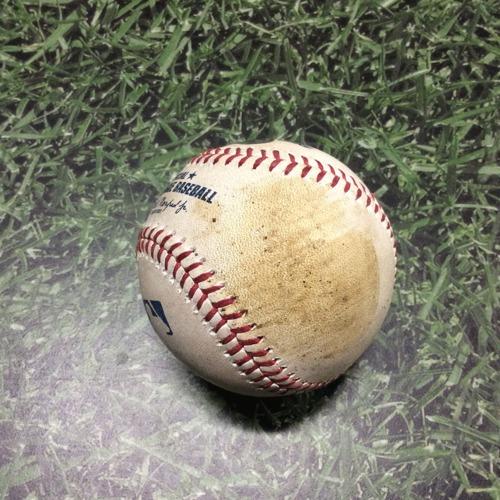 Photo of Game-Used Baseball LAD@MIL 04/21/19 - Clayton Kershaw - Orlando Arcia: Foul