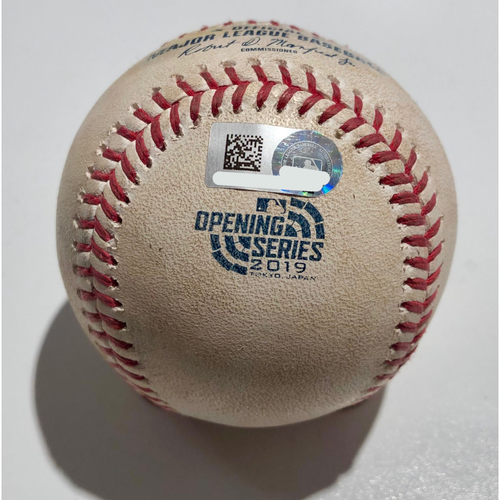 Photo of 2019 Japan Opening Day Series - Game Used Baseball - Batter: Matt Chapman Pitcher : Marco Gonzales - Double