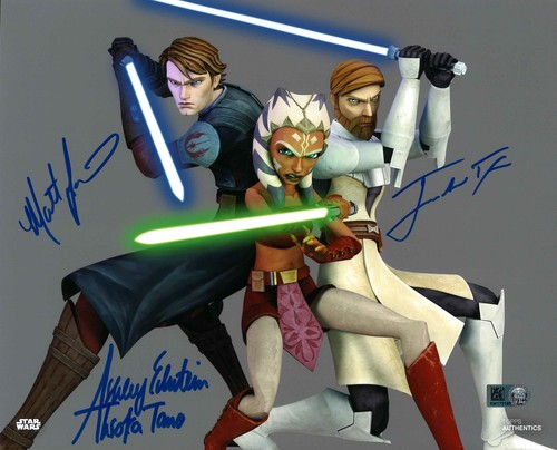 Matt Lanter, James Arnold Taylor and Ashley Eckstein as Anakin Skywalker, Obi-Wan Kenobi and Ahsoka Tano 8X10 AUTOGRAPHED IN 'BLUE' INK PHOTO