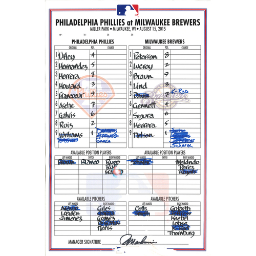 Photo of 2015 Official Lineup Card - Chase Utley final Phillies Home Run