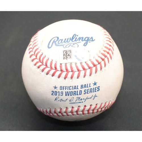 Photo of Game-Used Baseball: 2019 World Series - Game 6: Pitcher: Stephen Strasburg, Batter: Josh Reddick (Foul) - Bot 3