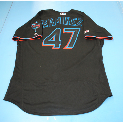 Photo of Game-Used Jersey - Harold Ramirez - Black - Marlins vs Nationals - September 21, 2019 - 2 Singles, 1 Walk - Size 46