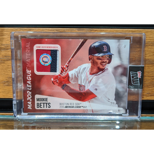 Photo of Topps Mookie Betts 2018 MVP Game Used Jersey Swatch Baseball Card Limited Edition Series of 49