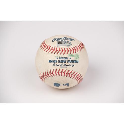 Photo of Game Used Baseball: Pitcher: Patrick Sandoval, Batter: Cody Bellinger - 2-Run Home Run - Top 6 - 8-14-2020 vs. LAD