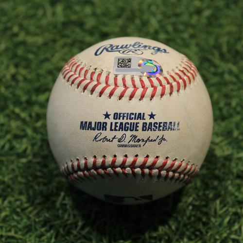 Photo of Game-Used Baseball: Yadier Molina 2,083rd Career Hit and 980th Career RBI (STL@KC 8/13/21)