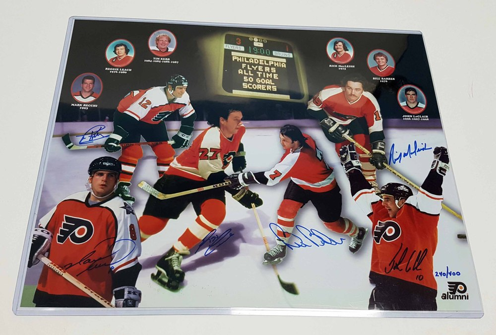Philadelphia Flyers Multi-Signed All Time 50 Goal Scorers 16X20 Collage *L/E 240/400* *Recchi, Leach, Kerr, Barber, MacLeish & LeClair*
