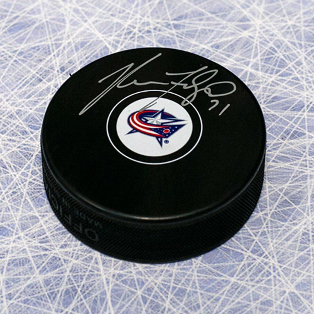 Nick Foligno Columbus Blue Jackets Signed Autograph Model Hockey Puck