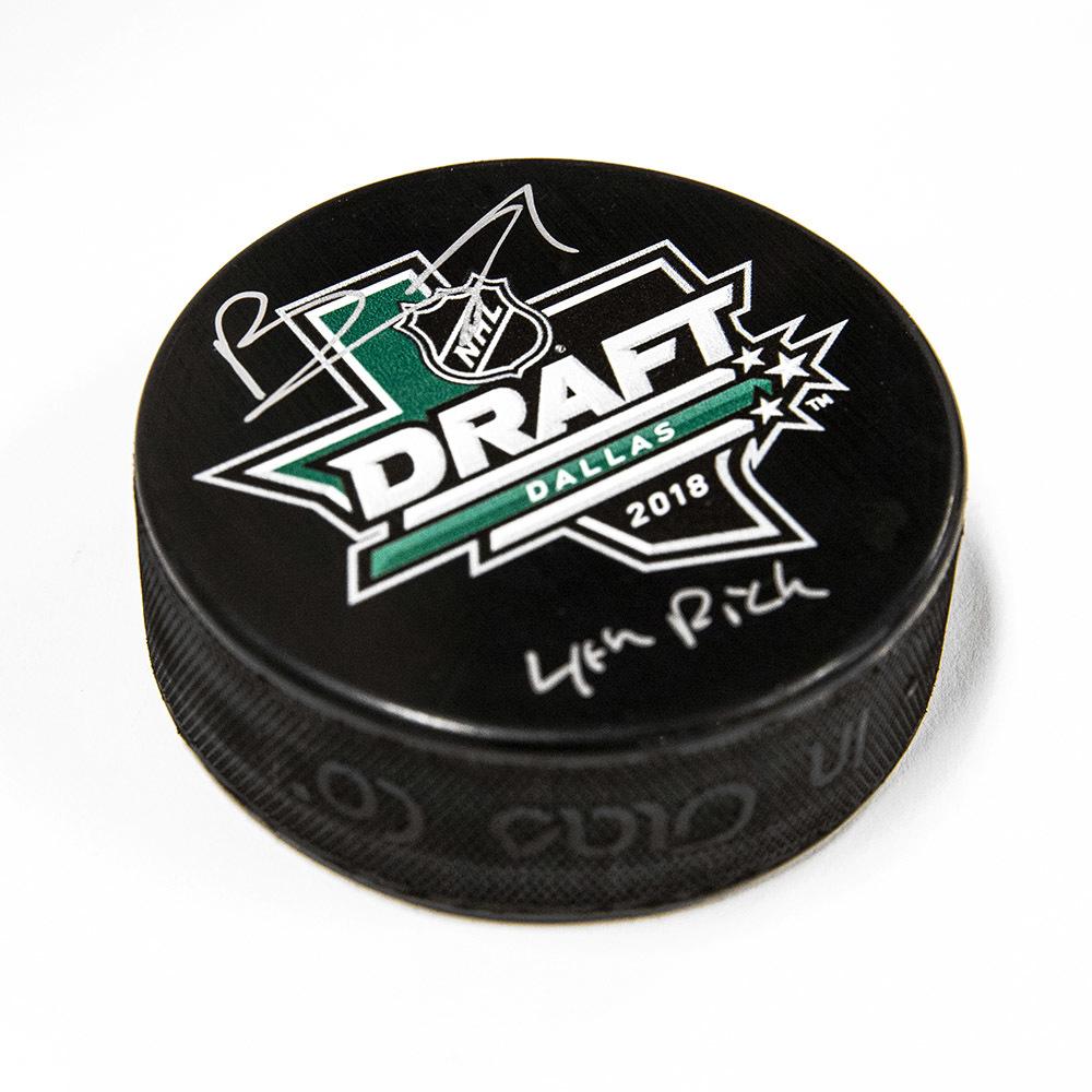 Brady Tkachuk 2018 NHL Draft Day Autographed Hockey Puck with 4th Pick *Ottawa Senators*