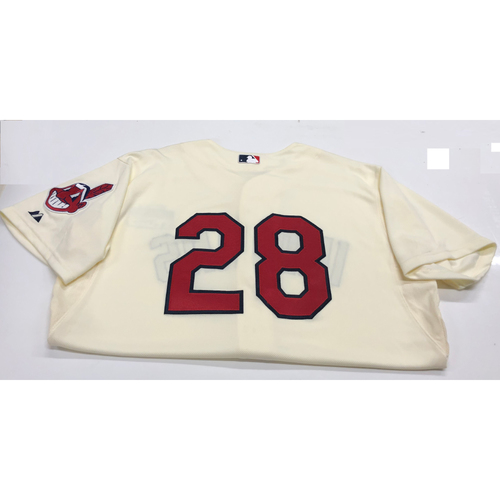 Photo of Cory Kluber Team Issued Alternate Home Creme Jersey