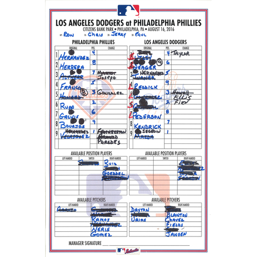 Photo of 2016 Official Lineup Card - Chase Utley & Ryan Howard HR