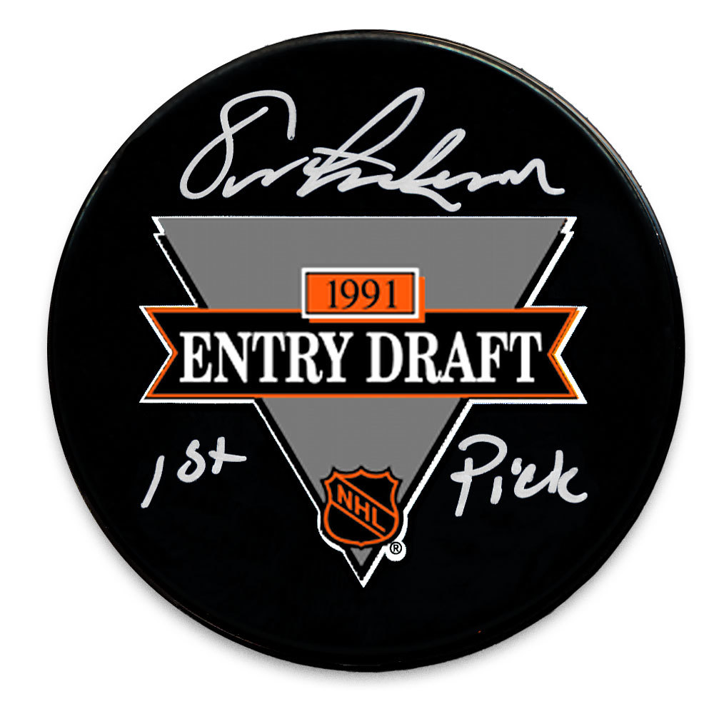 Eric Lindros 1991 NHL Draft Day 1st Pick Autographed Puck Philadelphia Flyers