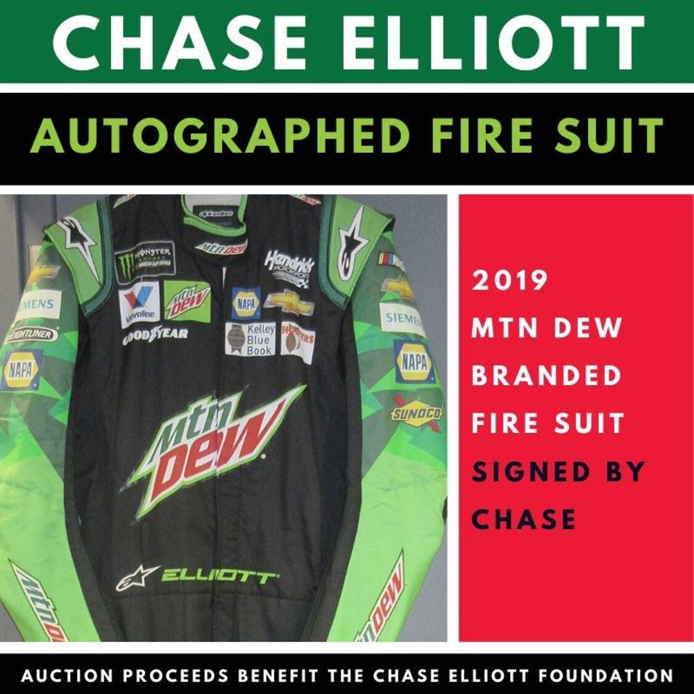 Autographed Chase Elliott Mountain Dew Fire Suit