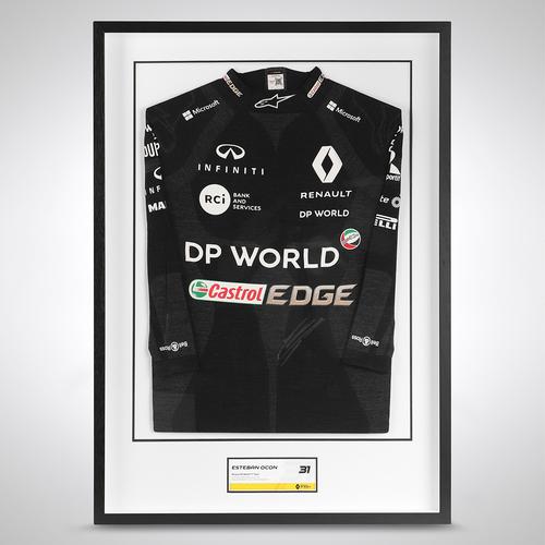 Photo of Esteban Ocon 2020 Framed Signed Race-worn Nomex - Turkish GP