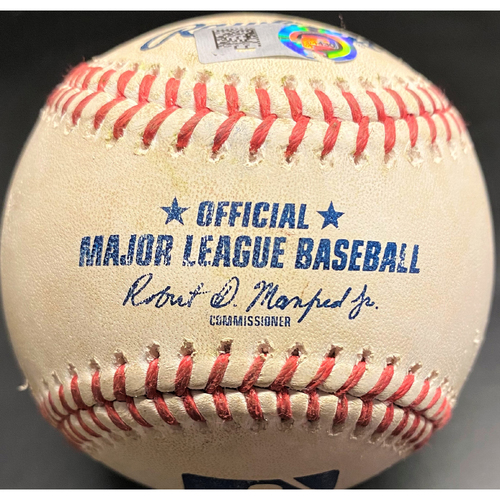 Photo of Game-Used Baseball: Miguel Cabrera Detroit Tigers RBI Single to move past Frank Thomas into 22nd place on All-Time Career RBI List (MLB AUTHENTICATED)