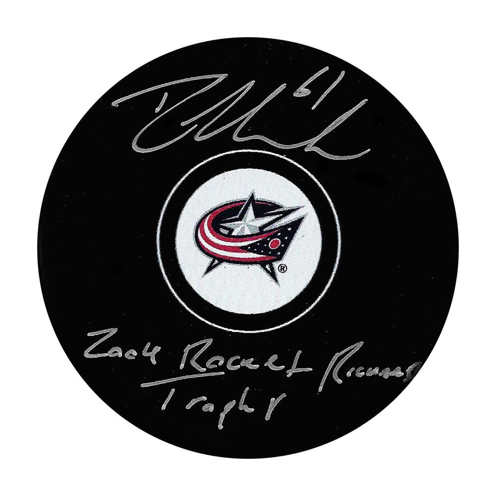 Rick Nash Autographed Columbus Blue Jackets Puck w/2004 ROCKET RICHARD TROPHY Inscription