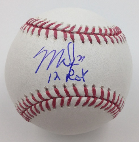 "Photo of Mike Trout Autographed ""12 ROY"" Baseball"