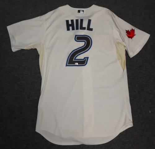 Photo of Authenticated Game Used Jersey - #2 Aaron Hill (July 15, 2011). Hill went 0-for-4 with 1 Run, 1 RBI and 2 Stolen Bases. Size 48