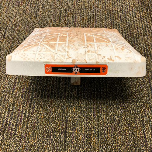 Photo of 2018 San Francisco Giants - Game Used Base - 60th Anniversary Logo - 4/23/2018 vs. Washington Nationals 1st Base from Innings 1-3