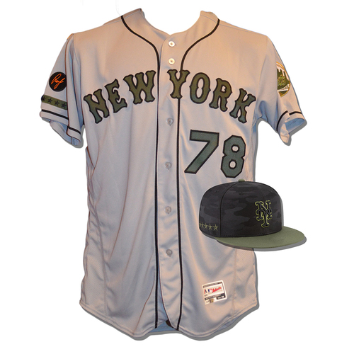 Photo of Eric Langill #78 - Game Used Road Grey Memorial Day Jersey and Hat - Mets vs. Braves - 5/28/18