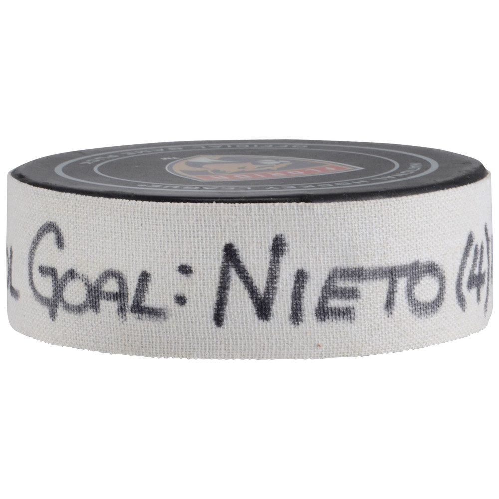 Matt Nieto Colorado Avalanche Game-Used Goal Puck from December 9, 2017 vs. Florida Panthers