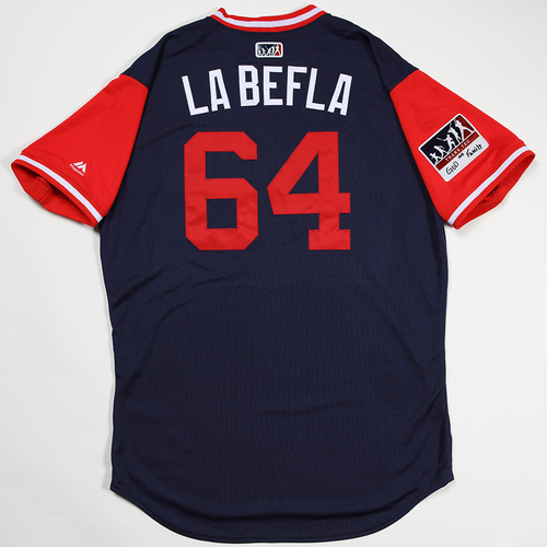 "Photo of Felix ""La Befla"" Pena Los Angeles Angels Game-Used 2018 Players' Weekend Jersey"