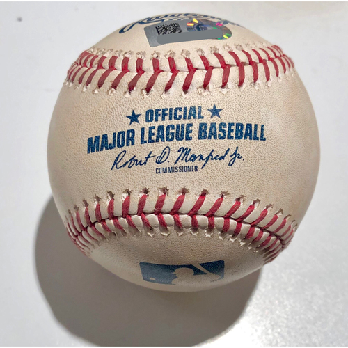 Photo of 2019 Japan Opening Day Series - Exhibition Game - Game Used Baseball - Batter: Po-Jung Wang Pitcher : Chris Bassitt - RBI Double