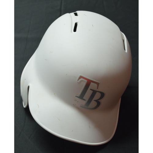 "Photo of Eric ""NERD POWER (NERD FACE EMOJI)"" Sogard Tampa Bay Rays Game-Used 2019 Players' Weekend Helmet"
