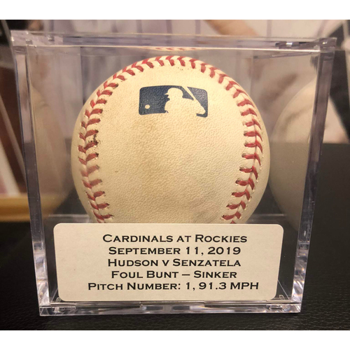 Photo of Colorado Rockies Game-Used Baseball - Pitcher: Dakota Hudson, Batter: Antonio Senzatela (Foul Bunt - Sinker) - September 11, 2019 vs St. Louis Cardinals
