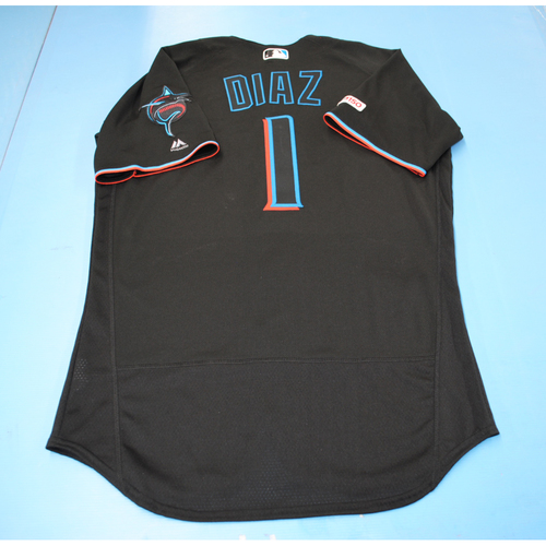 Photo of Game-Used Jersey - Isan Diaz - Black - Used vs Phillies - September 28, 2019 - 1 Walk - Size 42